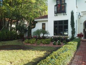 Front left after picture of a landscaping redesign in Winter Park